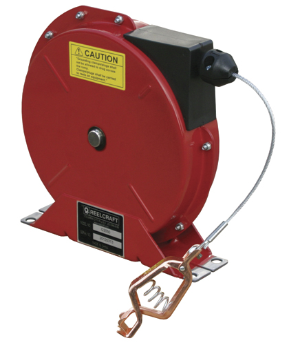 Static discharge grounding cable reel - spring retractable with 3/32
